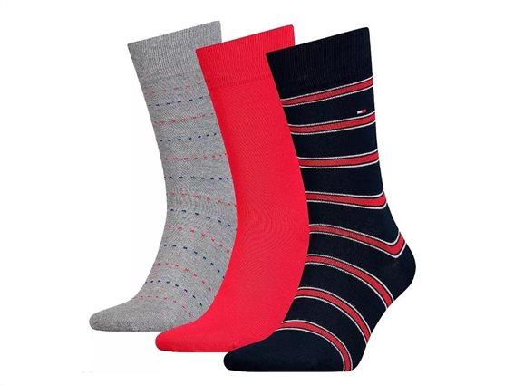 Tommy Hilfiger Σετ Ανδρικές Κάλτσες 3 τεμαχίων σε 3 διαφορετικά σχέδια σε συσκευασία δώρου,43-46