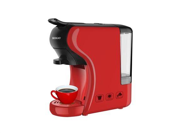 Sogo Multi Capsule Καφετιέρα Espresso 1450W Πίεσης 19bar Κόκκινη με δοχείο 0.6lt για κάψουλες Nespresso / Lavazza / Cataly / Pods