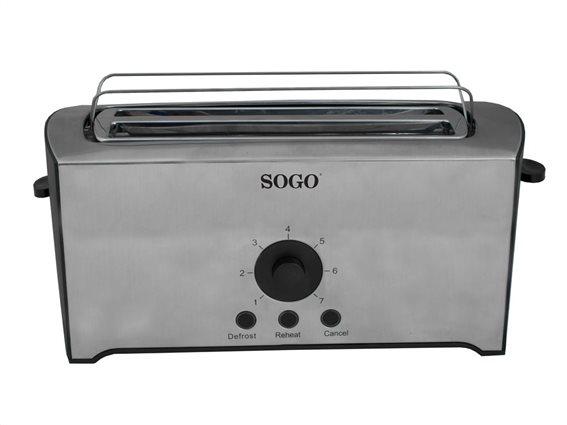 SOGO Τοστιέρα Φρυγανιέρα Inox 1600W με 4 θέσεις, TOS-SS-5455