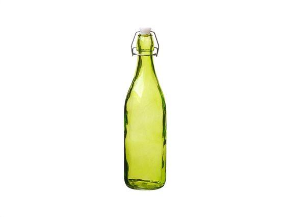 Γυάλινο Μπουκάλι Νερού 1L σε πράσινο χρώμα με Έλασμα για Αεροστεγές κλείσιμο
