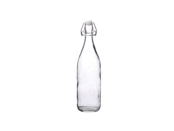 Γυάλινο Μπουκάλι Νερού 1L Διαφανές με Έλασμα για Αεροστεγές κλείσιμο