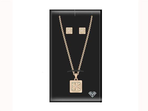 Pierre Cardin PCDXX8021 Σετ Κοσμημάτων Σκουλαρίκια Κολιέ από Ανοξείδωτο Ατσάλι σε Roze Gold χρώμα