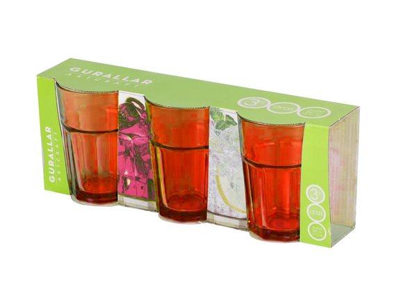 Σετ 3 Γυάλινα Ποτήρια 360ml σε Κόκκκινο Πορτοκαλί Χρώμα