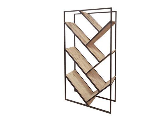Έπιπλο Ξύλινη Βιβλιοθήκη με 6 Διαγώνια Ράφια σε Φυσικό χρώμα ξύλου, 80x30x160cm
