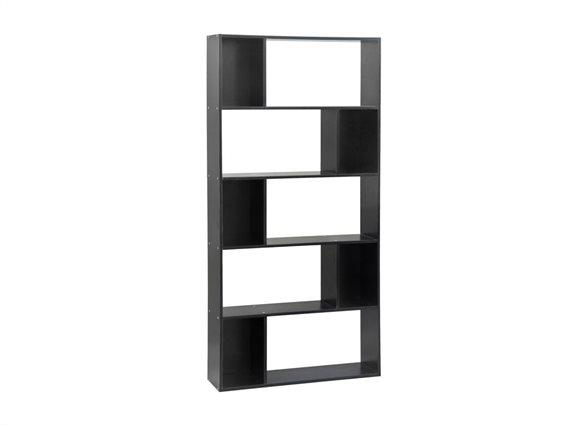 Έπιπλο Ξύλινη Βιβλιοθήκη με 5 Ράφια σε μαύρο χρώμα, 83x23x173cm