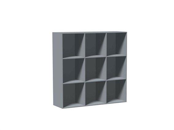 Έπιπλο Ξύλινη Βιβλιοθήκη με 9 τετράγωνα Ράφια σε Γκρι χρώμα, 104x34x104cm