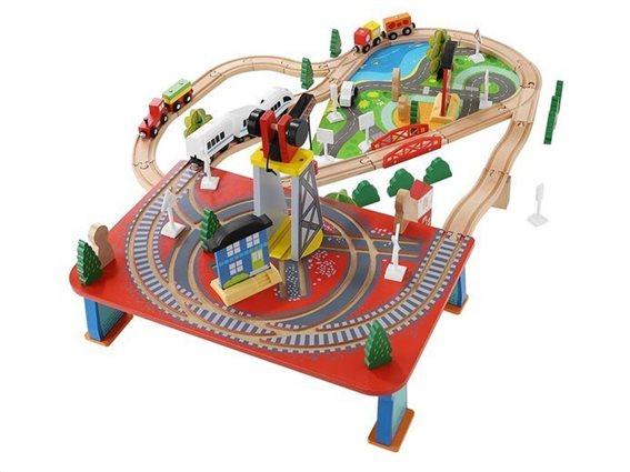 Kruzzel Ξύλινος Συναρμολογούμενος Σιδηρόδρομος 88 τεμαχίων, 80x90x33.5cm