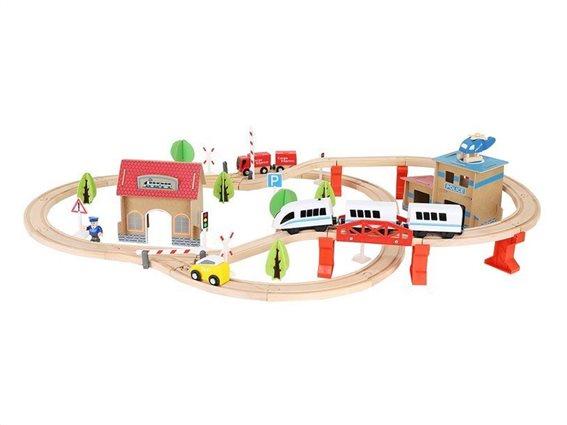 Kruzzel Ξύλινος Συναρμολογούμενος Σιδηρόδρομος 89 τεμαχίων, 14,5x90x50cm