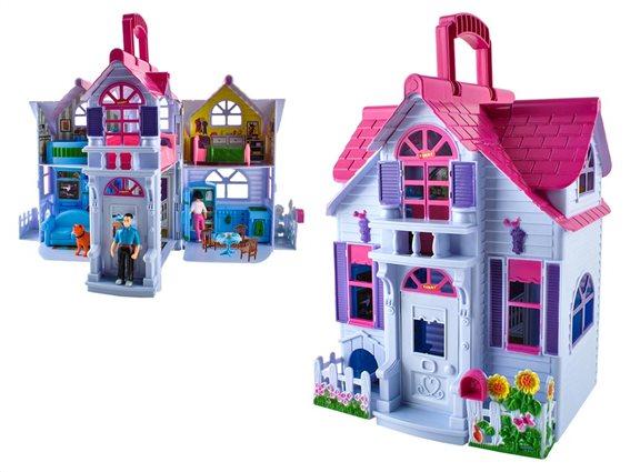 Κουκλόσπιτο 2 Ορόφων με 6 δωμάτια και 4 φιγούρες, σε μωβ χρώμα, διαστάσεις 16x18x28.5cm