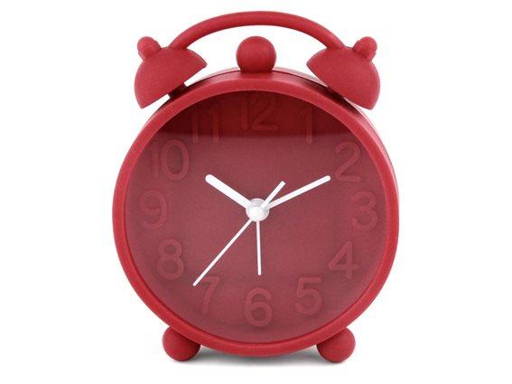 Ρολόι Ξυπνητήρι με μηχανισμό Jump, σε κόκκινο χρώμα, διαστάσεις  9.8x3x15.5cm