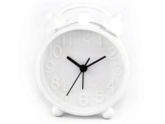 Ρολόι Ξυπνητήρι με μηχανισμό Jump, σε λευκό χρώμα, διαστάσεις  9.8x3x15.5cm
