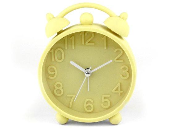 Ρολόι Ξυπνητήρι με μηχανισμό Jump, σε κίτρινο χρώμα, διαστάσεις  9.8x3x15.5cm