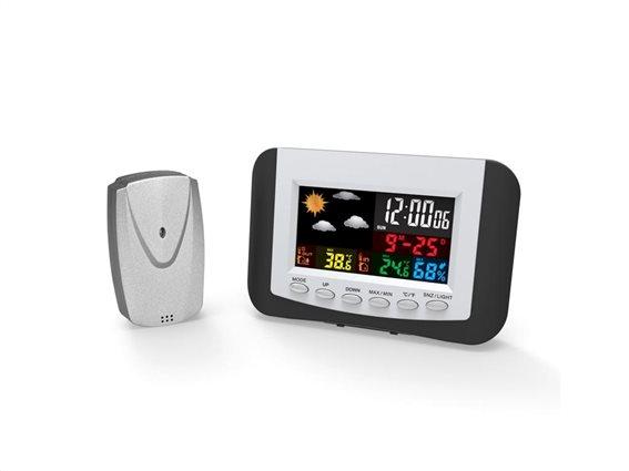 Ψηφιακός Μετεωρολογικός σταθμός με ένδειξη ώρας,οθόνη LCD και επίπεδα υγρασίας, διαστάσεις 25x18x5cm