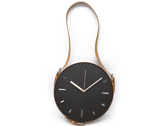 Επιτοίχιο Διακοσμητικό Ρολόι σε μαύρο χρώμα με καφέ ζώνη, διαστάσεις 30x3,5x30cm