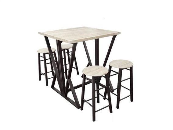 Σετ Τραπέζι και 4 Σκαμπό Stand για σαλόνι και κουζίνα με επιφάνεια σε μπεζ χρώμα, 80x80x89 cm