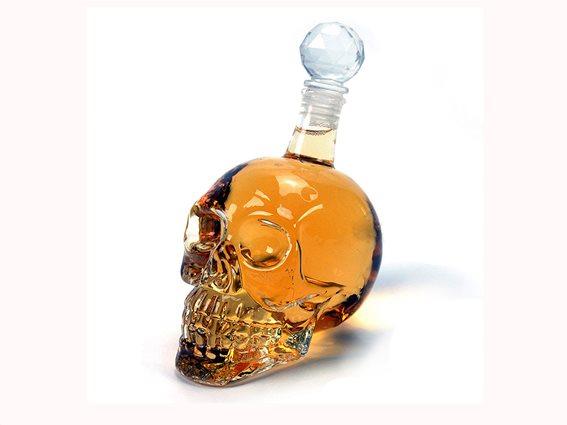 Μπουκάλι ποτού 1L σε σχήμα νεκροκεφαλή και αεροστεγές κούμπωμα, Skull Bottle