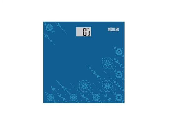 Muhler Γυάλινη Ψηφιακή Ζυγαριά Μπάνιου μεγίστου βάρους 150Kg σε Μπλε χρώμα