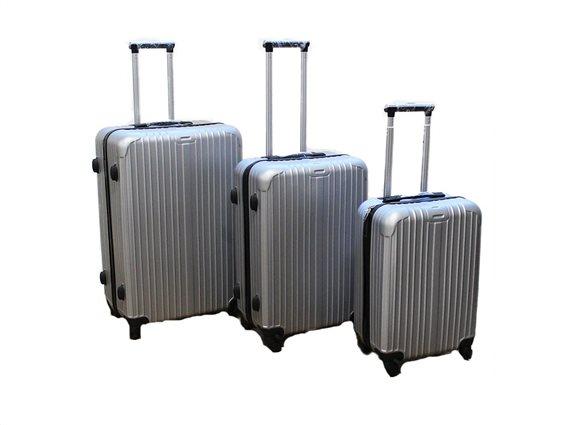 Σετ 3 Βαλίτσες Ταξιδιού ABS με Τηλεσκοπικό Χερούλι, Ροδάκια & Κλείδωμα Ασφαλείας σε ασημί χρώμα