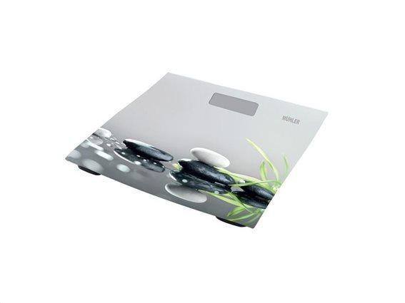 Muhler Γυάλινη Ψηφιακή Ζυγαριά Μπάνιου μεγίστου βάρους 150Kg με σχέδιο σε πράσινο χρώμα