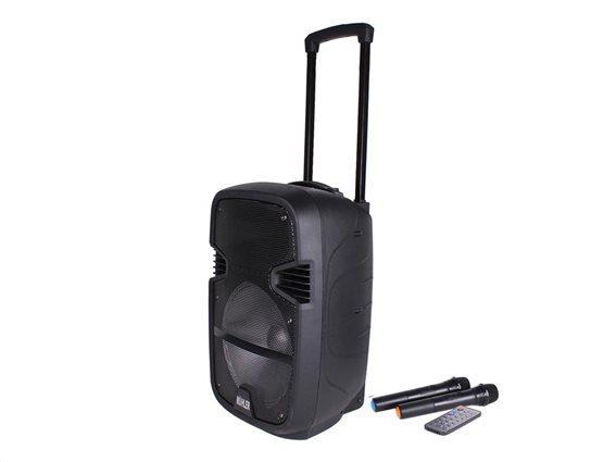 Φορητό Ηχείο Καραόκε Τρόλευ 35W με Bluetooth, MP3, Ραδιόφωνο και δύο μικρόφωνα, Karaoke Muhler