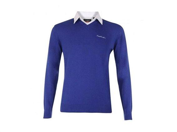 Pierre Cardin Ανδρικό Πουλόβερ V με γιακά πουκάμισο σε χρώμα Royal XLarge
