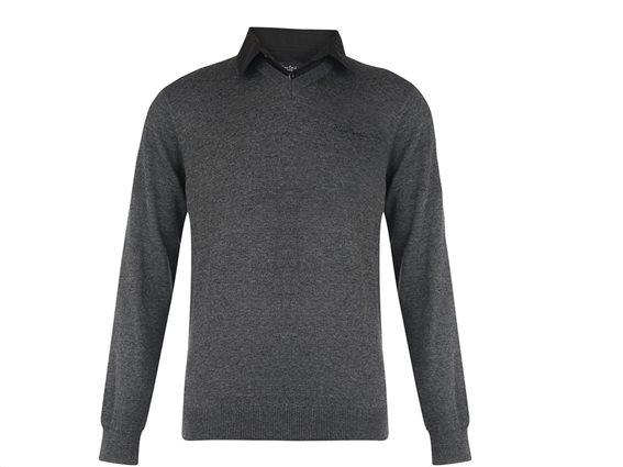 Pierre Cardin Ανδρικό Πουλόβερ V με γιακά πουκάμισο σε Γκρι χρώμα Medium