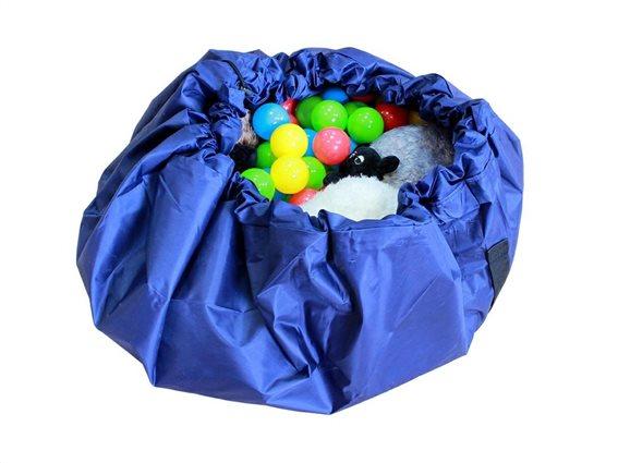 Aria Trade Σάκος Αποθήκευσης - Αναδιπλούμενο Χαλί Παιχνιδιών Play Mat & Sack Μπλε 140cm