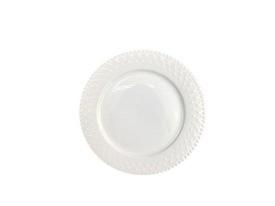 Pierre Cardin Πιάτο από Πορσελάνη διαμέτρου 27 cm σε λευκό χρώμα