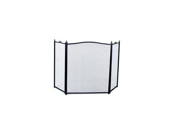 Προστατευτικό τζακιού Τρίφυλλη μεταλλική κάλυψη για το τζάκι σε μαύρο χρώμα, συνολικού μήκους 100cm