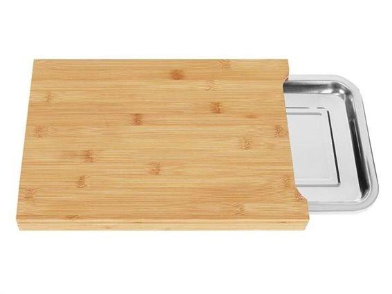 Aria Trade Ξύλινη βάση κοπής με συρόμενο δίσκο, 35x25x3.5 cm