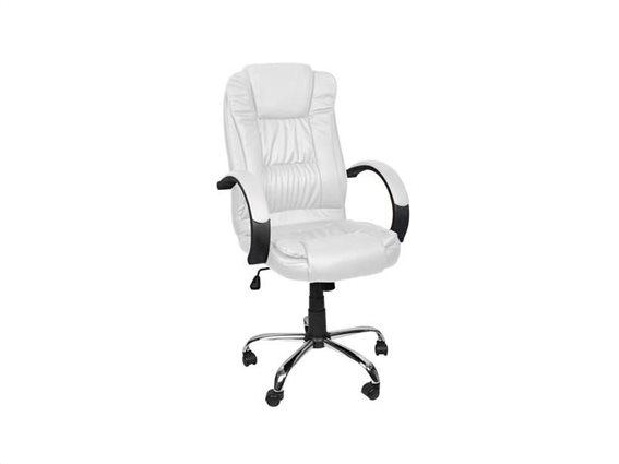 Malatec Καρέκλα Γραφείου Δερματίνη Λευκή