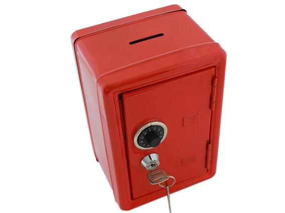Aria Trade Μεταλλικός Κουμπαράς Χρηματοκιβώτιο με κλειδαριά και κωδικό σε κόκκινο χρώμα, 12x10x18 cm