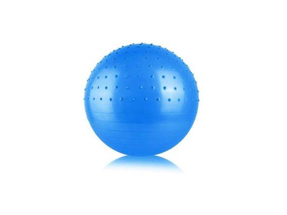 Φουσκωτή μπάλα γυμναστικής, Yoga, Pilates, με διάμετρο 70cm και 2 ανάγλυφες επιφάνειες Μπλε