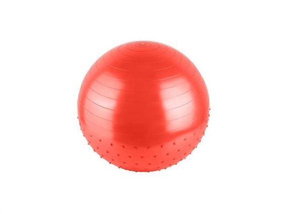 Φουσκωτή μπάλα γυμναστικής, Yoga, Pilates, με διάμετρο 70cm και 2 ανάγλυφες επιφάνειες Κόκκινο