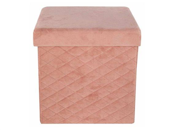 Βελούδινο Πτυσσόμενο Σκαμπό με αποθηκευτικό χώρο σε σομόν χρώμα, 37.5x37.5x37.5 cm