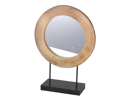 Διακοσμητικός Επιτραπέζιος Καθρέφτης με μαύρη βάση, 30x10x42 cm