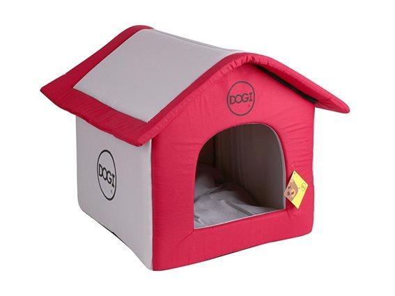 Σπιτάκι σκύλου σε κόκκινο καφέ χρώμα, 40x35x54 cm
