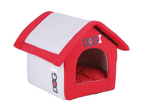 Σπιτάκι σκύλου σε κόκκινο καφέ χρώμα, 40x35x42 cm