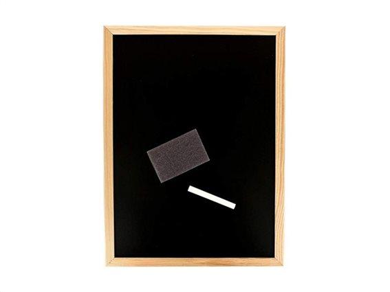 Ξύλινος Μαυροπίνακας Κιμωλίας Σημειώσεων με σφουγγάρι και κιμωλία, 30x40 cm