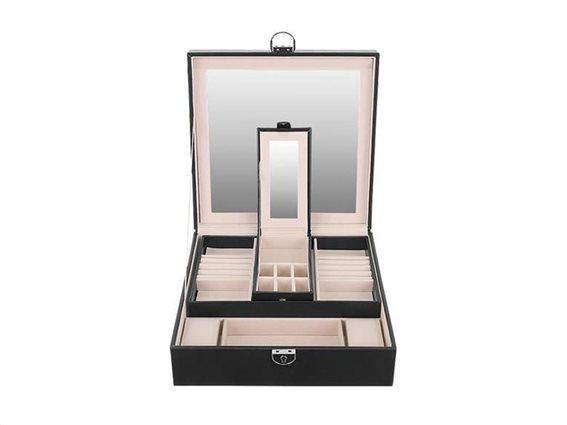 Aria Trade Κοσμηματοθήκη Μπιζουτιέρα με 2 επίπεδα και καθρέφτη από δερματίνη σε μαύρο χρώμα, 25.5x25.5x30 cm