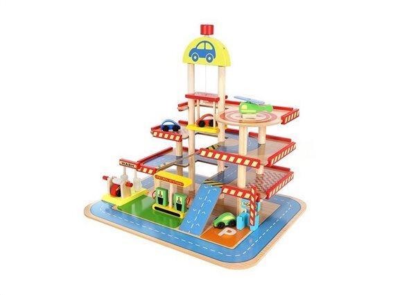 Σετ Παιδικό Παιχνίδι Ξύλινο Γκαράζ 27 τεμαχίων με ανελκυστήρα, 40x50.5x46.5cm