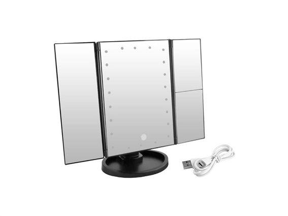 Aria Trade Μεγεθυντικός Καθρέπτης Αναδιπλούμενος με Μεγέθυνση 3x με Φωτισμό LED 11.5x34.5x28cm