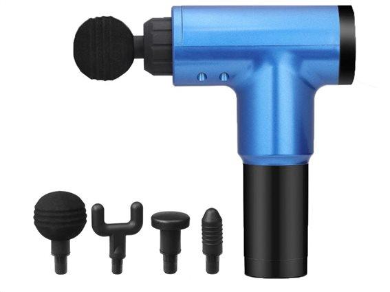 Aria Trade Πιστόλι Μασάζ για το Σώμα AT186 Μπλε 4 Κεφαλές και 6 Ταχύτητες Λειτουργίας