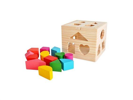 Ξύλινος Κύβος Εκπαιδευτικό Παιχνίδι με τουβλάκια, 14x14x12 cm