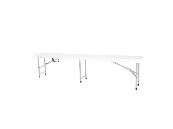 Πτυσσόμενο Τραπέζι για Κάμπινγκ με Σκελετό από Ατσάλι σε Λευκό χρώμα, 27x180x43 cm, Camping Table