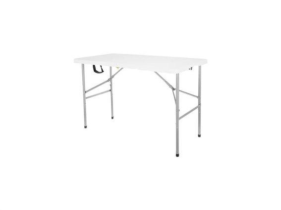 Πτυσσόμενο Τραπέζι για Κάμπινγκ με Σκελετό από Ατσάλι σε Λευκό χρώμα, 122x60x75 cm
