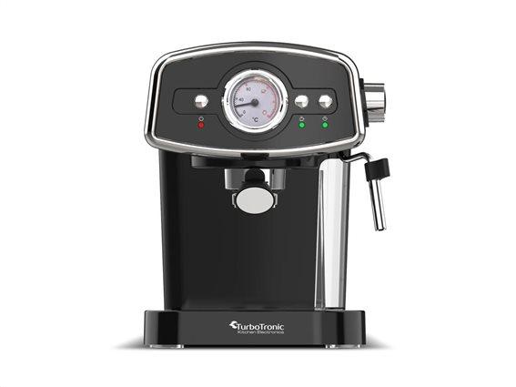 TurboTronic Καφετιέρα Espresso Cappuccino 19bar Πίεσης με Αποσπώμενο Δοχείο 1.2Lt, Turbotronic TT-CM22 Μαύρο