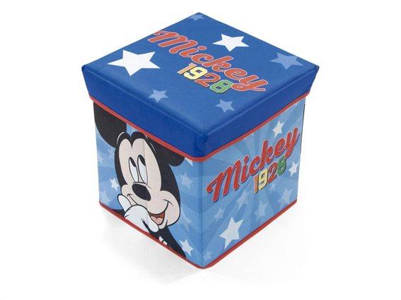 Κουτί Αποθήκευσης παιδικό σκαμπό Mickey Mouse, 30x30x30 cm