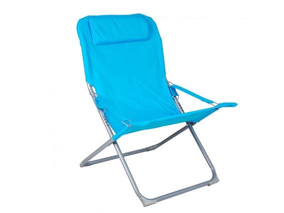 Πτυσσόμενη Καρέκλα Πολυθρόνα Παραλίας 4 θέσεων σε γαλάζιο χρώμα, 88x64x84 cm