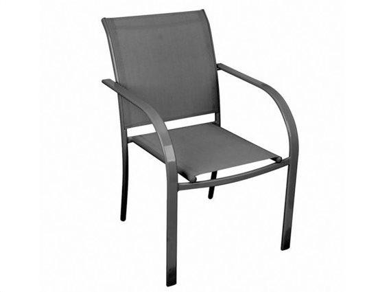 Καρέκλα Κήπου με μεταλλικό σκελετό σε σκούρο γκρι χρώμα, 65x57x87 cm